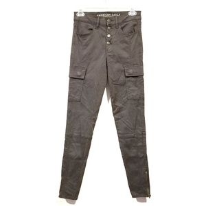 AEO hi-rise Jegging cargo pants gray button fly